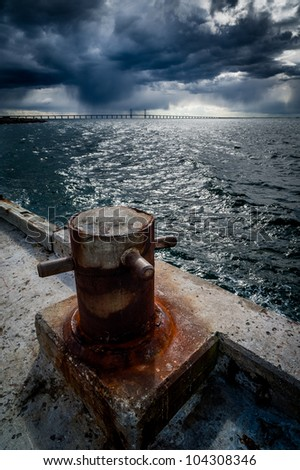 Storm clouds over Oresund Bridge