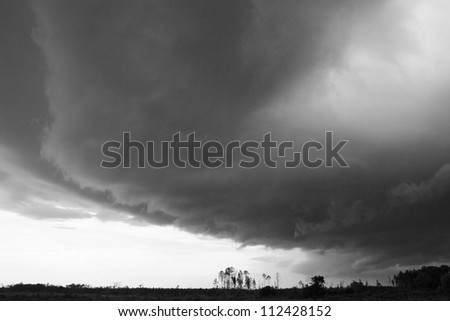 storm clouds over woods - stock photo
