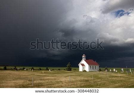 Storm Clouds Saskatchewan ominous skies and warnings - stock photo