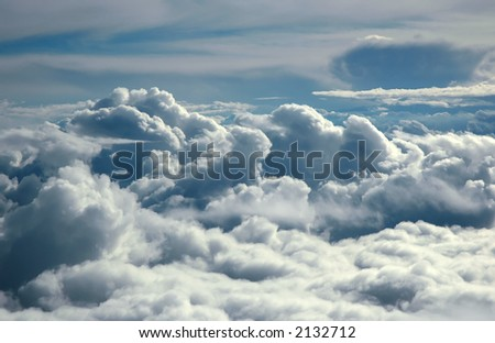 Storm clouds. View from airplane. See my full collection of clouds - stock photo