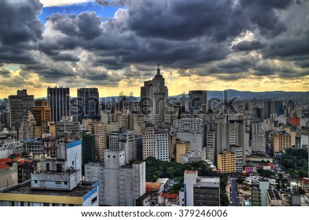 Storm coming. Sao Paulo skyline in the afternoon. HDR (high dynamic range) picture. - stock photo
