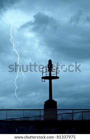 storm in the nice over the port - stock photo