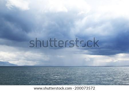 storm in the sea near Reykjavik. Iceland. - stock photo