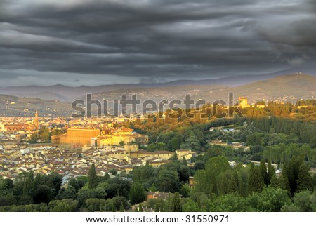 Storm is coming to Florence, Italy. HDR image - stock photo