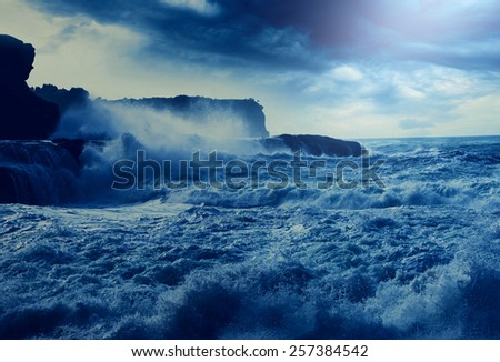 storm on Pacific ocean on Pacific ocean - stock photo