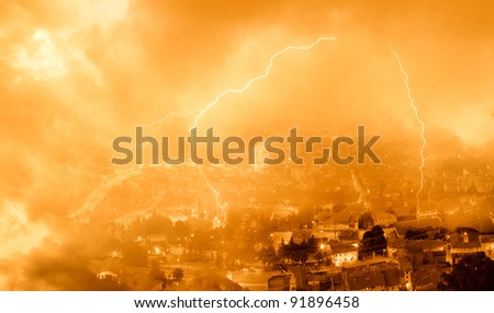 storm on the city with lightning in the night - stock photo