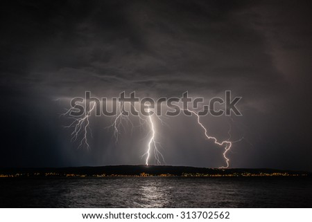 Storm on the coast of Adriatic, Croatia.  - stock photo