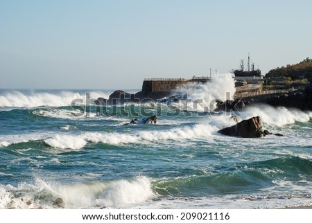 storm on the Santander coast. Spain - stock photo