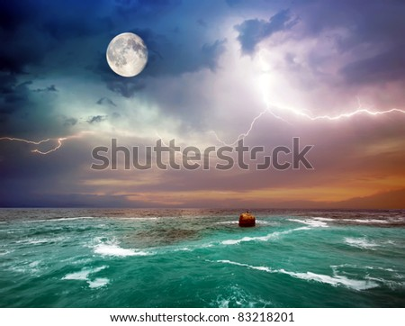 Storm on the sea. Composition of nature. - stock photo