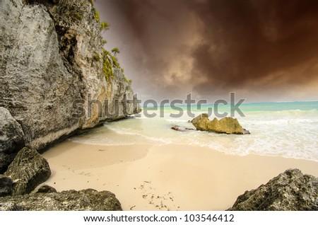 Storm on Tulum Coast, Mexico - stock photo