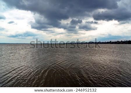 Storm over the lake Balaton - stock photo