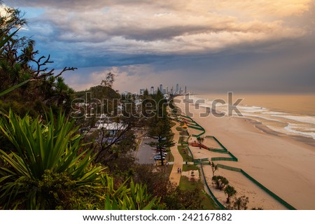 Storm passes over Surfers Paradise on the Gold Coast, Australia - stock photo