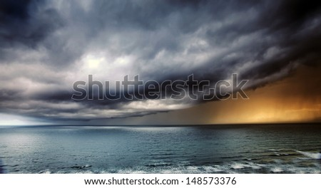 Storm Passing over Sea