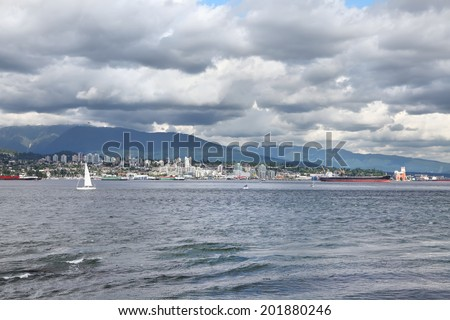 Storm sky over Vancouver bay (British Columbia. Canada) - stock photo