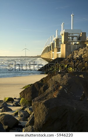 Storm surge barrier in Zeeland, Holland. Build after the storm disaster in 1953. - stock photo