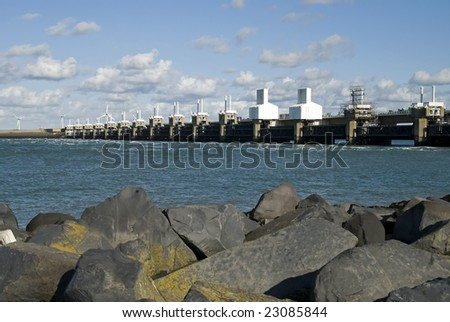 Storm surge barrier in Zeeland, Netherlands. Build after the storm disaster in 1953. - stock photo