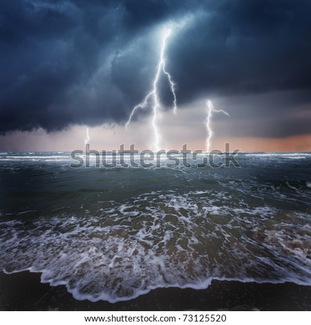 Storm, thunder on the ocean - stock photo
