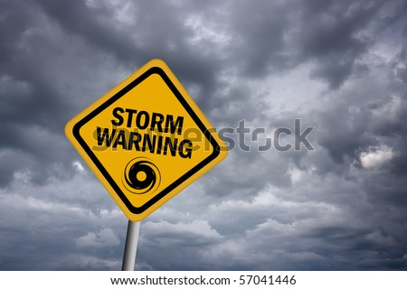 Storm warning sign - stock photo