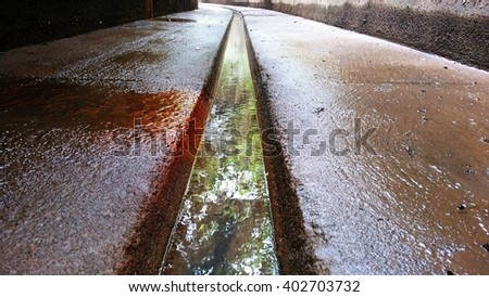 Storm water drain is designed to drain excess rain and ground water from paved streets, car parks, parking lots, footpaths, sidewalks and roofs. It drains the storm water, untreated, into rivers. - stock photo