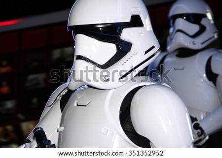 Stormtroopers at the World premiere of 'Star Wars: The Force Awakens' held at the TCL Chinese Theatre in Hollywood, USA on December 14, 2015. - stock photo