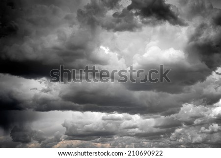 Stormy and rainy clouds - stock photo