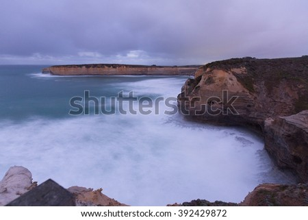 Stormy cliffs of Great Ocean Road, Australia - stock photo