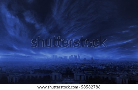 Stormy clouds over city - stock photo