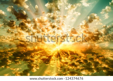 stormy cloudy sky sun set - stock photo