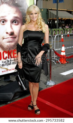 """Stormy Daniels attends Los Angeles Premiere of """"Knocked Up"""" held at the Mann Village Theatre in Westwood, California, on May 21, 2007.   - stock photo"""