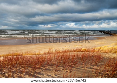 Stormy day at Baltic sea coast. - stock photo