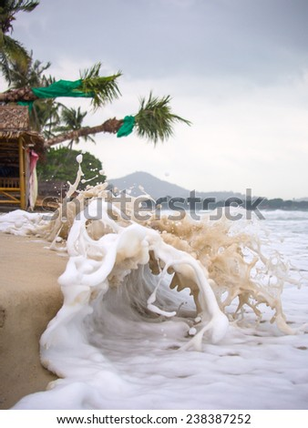 Stormy day in the beach of Chaweng in Koh Samui island Thailand - stock photo