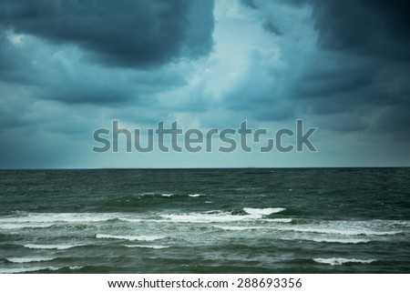 Stormy evening at gulf of Biscay, San Sebastian, Spain.
