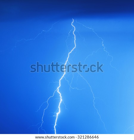 Stormy lightning bolt - stock photo