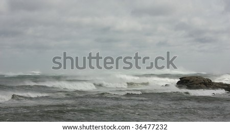 Stormy ocean during hurricane Bill