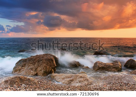 Stormy sea in the tropics - stock photo