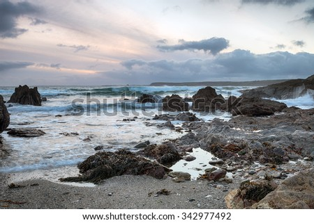 Stormy seas at Hemmick beach near Gorran Haven on the south coast of Cornwall - stock photo
