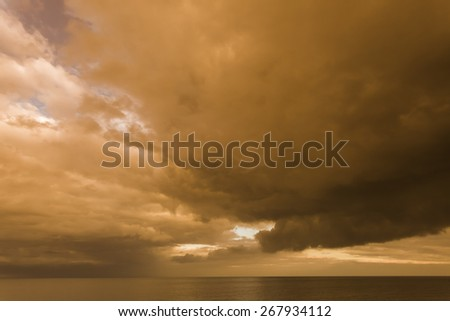 Stormy Skies over Withernsea, at sunset in East Cost Yorkshire, UK - stock photo