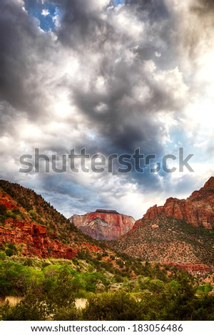 Stormy skies over Zion National Park, Utah, USA. HDR processing. - stock photo