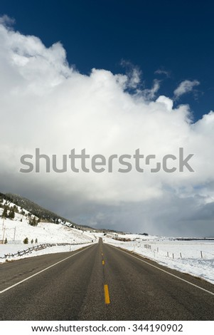 Stormy Skies Thunder Clouds Big Sky Country Montana Weather Approaching - stock photo