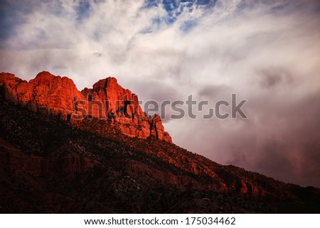 Stormy sky in Zion National Park at sunset, Utah, USA - stock photo