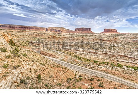 Stormy sky over Canyonlands National Park, Island in the Sky district, Utah, USA. - stock photo