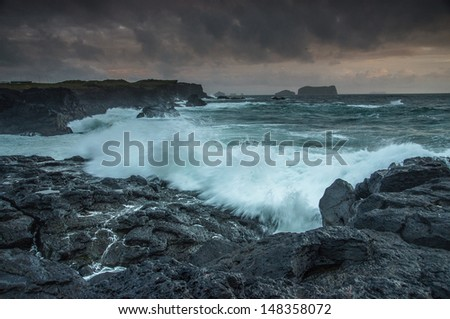Stormy tide in Westman Islands, Iceland - stock photo