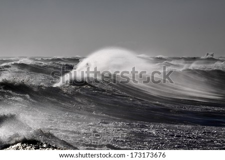 Stormy waves in a stormy day. North portuguese cost. - stock photo
