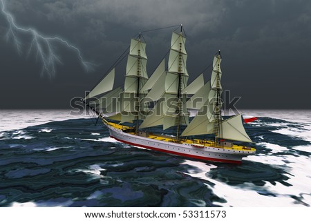 STORMY WEATHER - A tall ship glides through rough seas during a thunderstorm. - stock photo