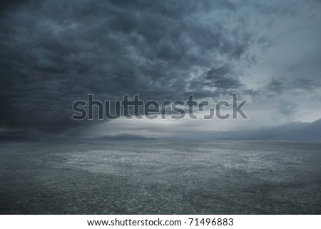 Stormy weather and dark clouds - stock photo