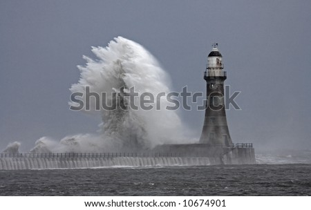Stormy weather and rough seas at Roker Lighthouse