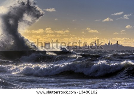stormy weather at Baltic sea coats. Wind speed about 30km/h. - stock photo