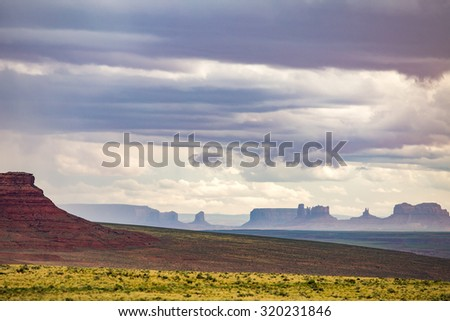 Stormy weather in Monument Valley - stock photo