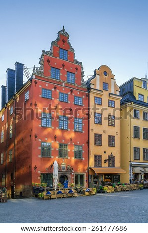 Stortorget is a small public square in Gamla Stan, the old town in central Stockholm, Sweden. - stock photo