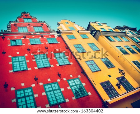 Stortorget place in Gamla stan, Stockholm - stock photo